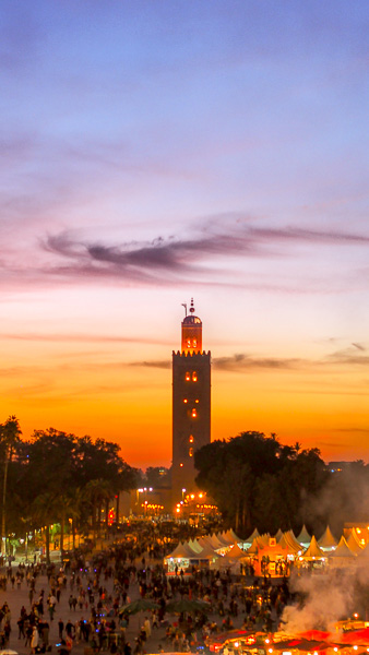 Marrakesh, Morocco, sunset, mosque,