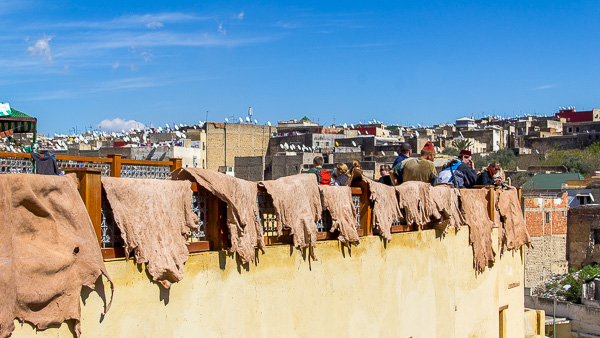 Balcony overlooking the leather tanneries in Fes, Morocco