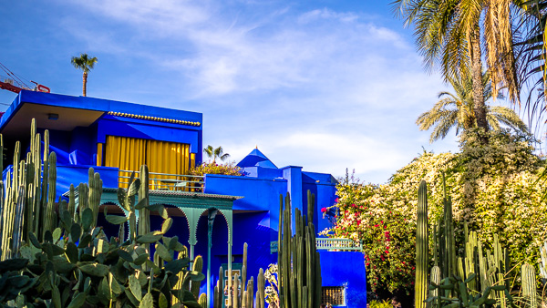 The blue building in the Majorelle Garden