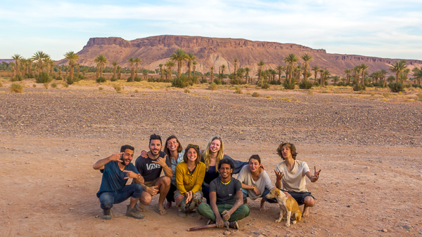 Group photo of our workaway crew in Tagounite Morocco