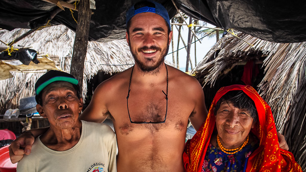 Liam having a photo with local Gunas in San Blas