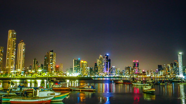City skyline at night in Panama City
