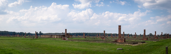 Endless decaying barracks that housed the prisoners of Auschwitz