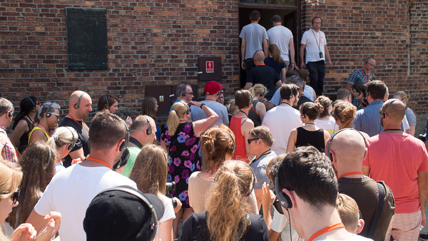 Waiting in line for one of the exhibitions at Auschwitz