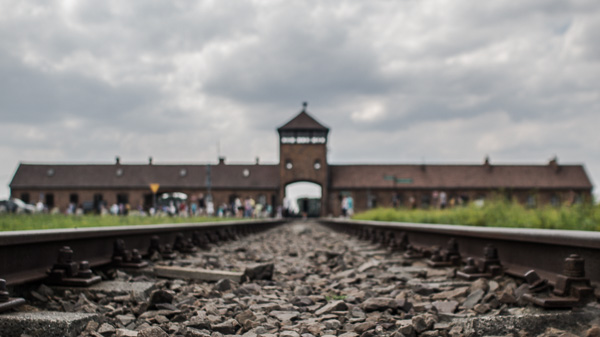The rail tracks that lead straight into Birkenau and its gas chambers