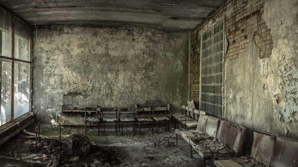 A waiting room of Pripyat Hospital in chernobyl