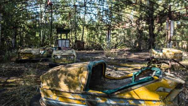 The dodgem cars of Pripyats amusement in chernobyl