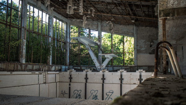 The pool at Pripyat highschool chernobyl tours