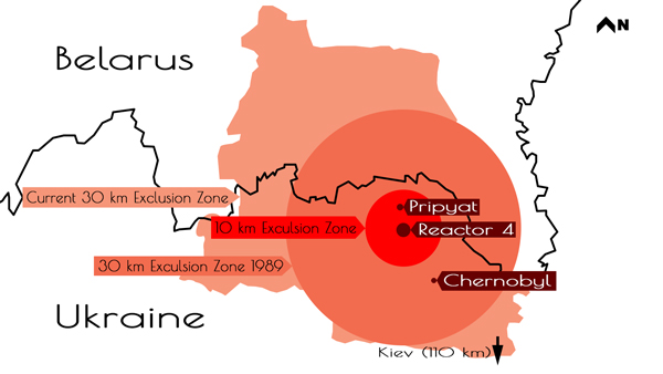 chernobyl exclusion zone map