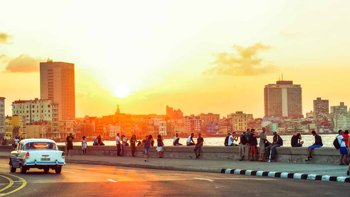Beautiful sunset in Havana we saw while backpacking in Cuba