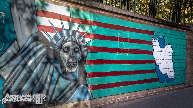 Graffiti Tehran American Embassy after you get your iran visa on arrival