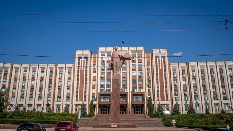 Another statue infront of the House of Soviets in Tiraspol