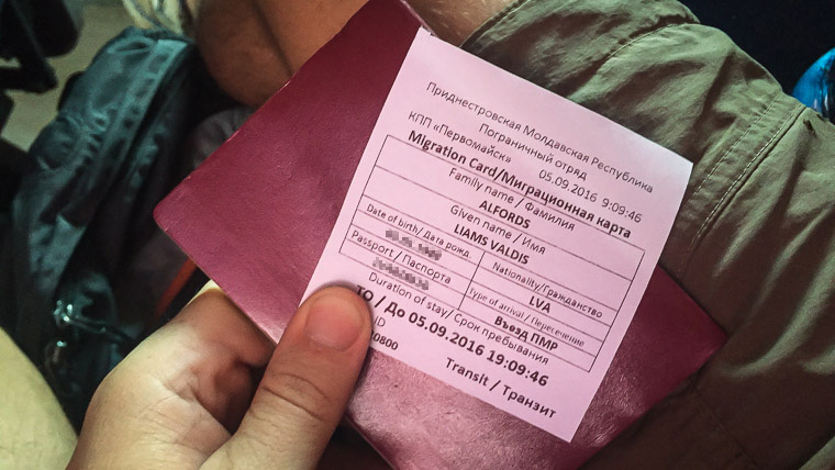 migration card given to you when traveling to Transnistria