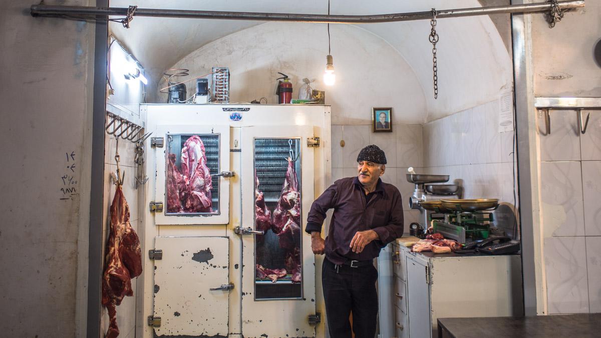 Butcher in the Iranian bazaar of Kashan