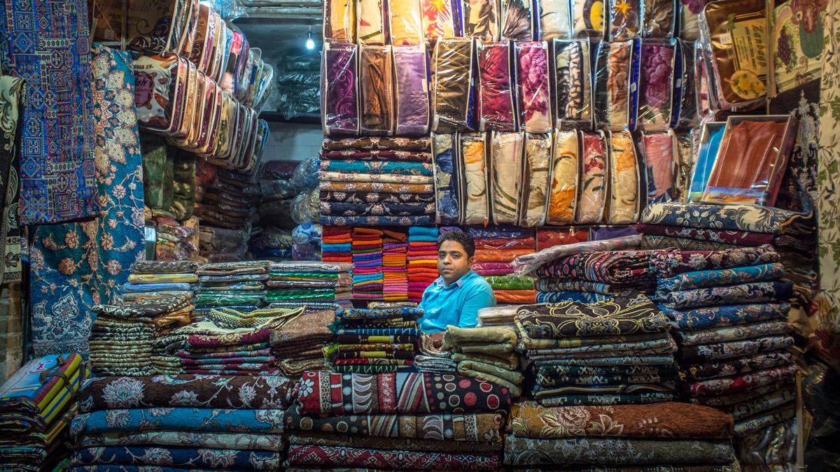 Rug salesman in the Grand Bazaar of Tehran, Iran