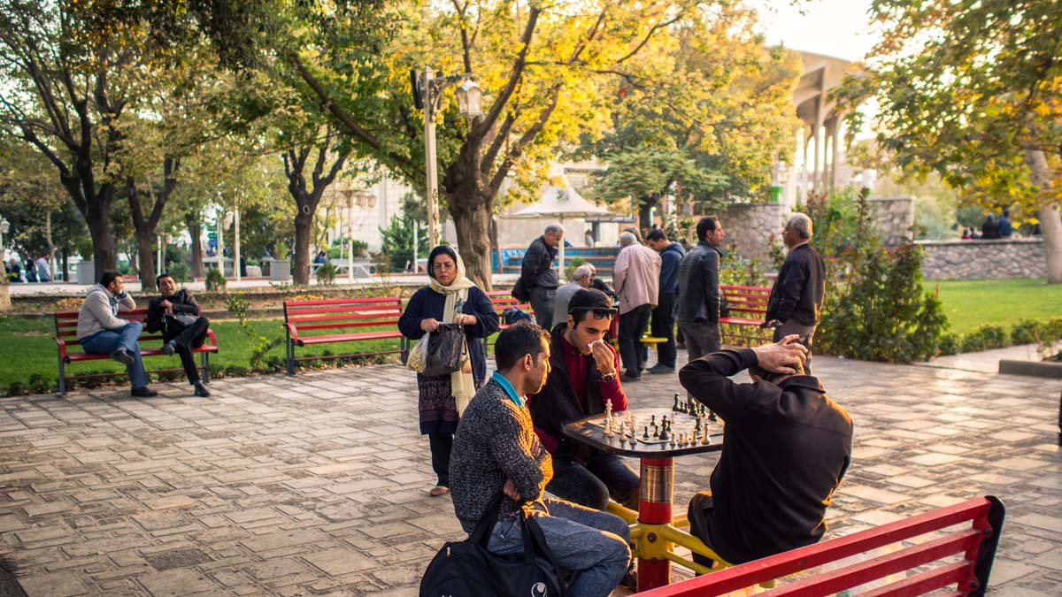 Game of chess in a park of Tehran, Iran