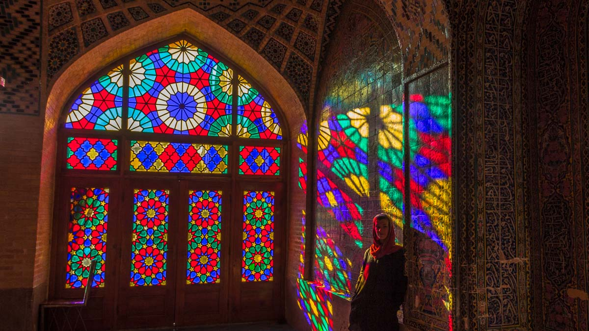 Mariana in the Pink Mosque of Shiraz