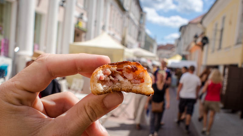 Bacon roll while roaming the streets of Riga